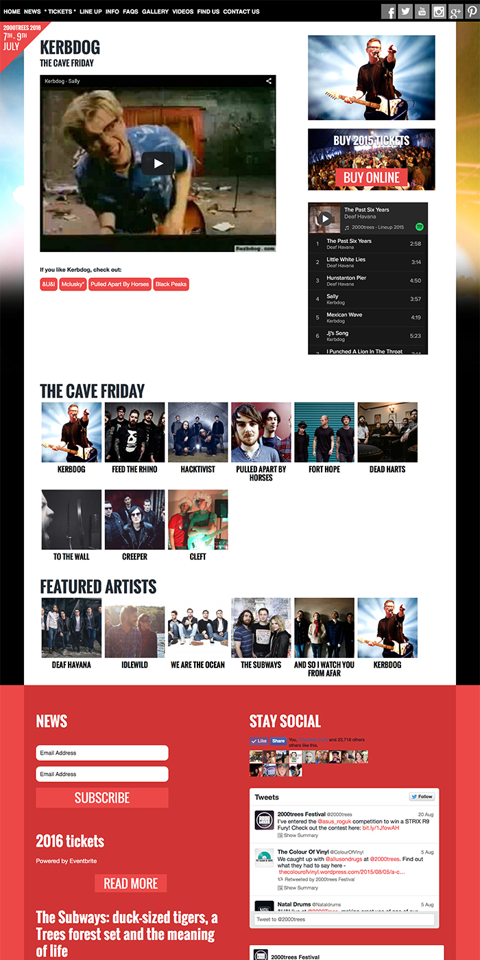 Artist Page - 2000trees Website
